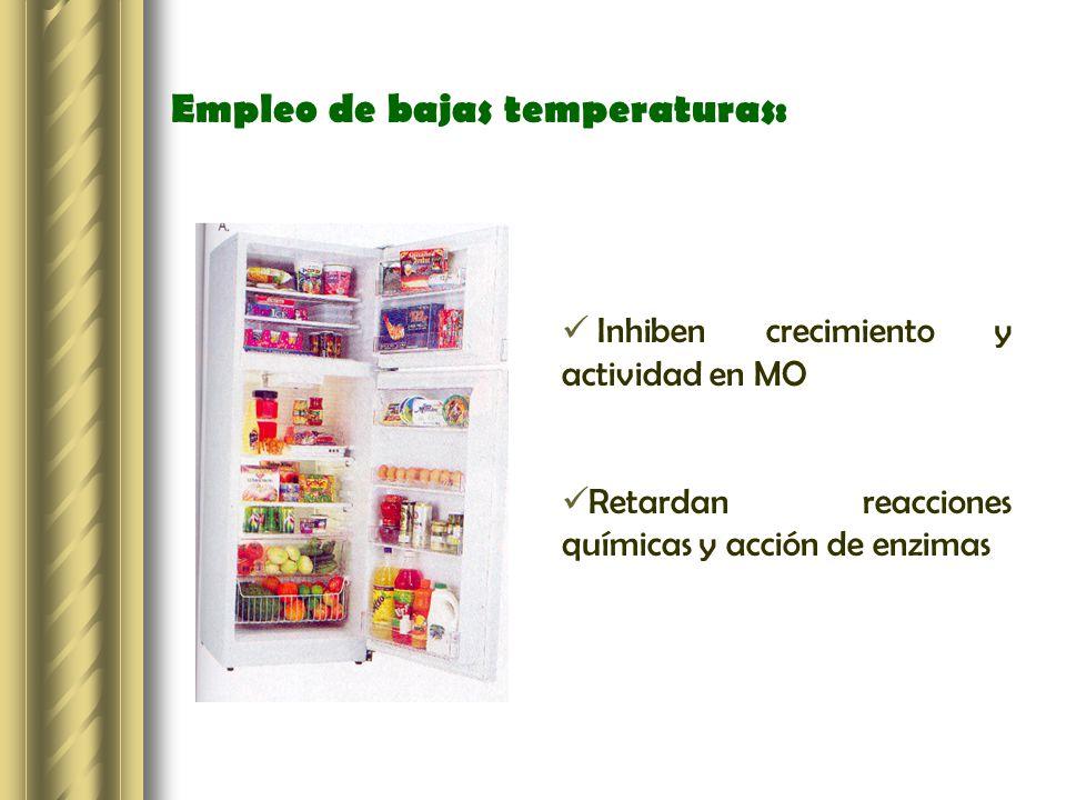 Empleo de bajas temperaturas: Inhiben crecimiento y actividad en MO Retardan reacciones químicas y acción de enzimas