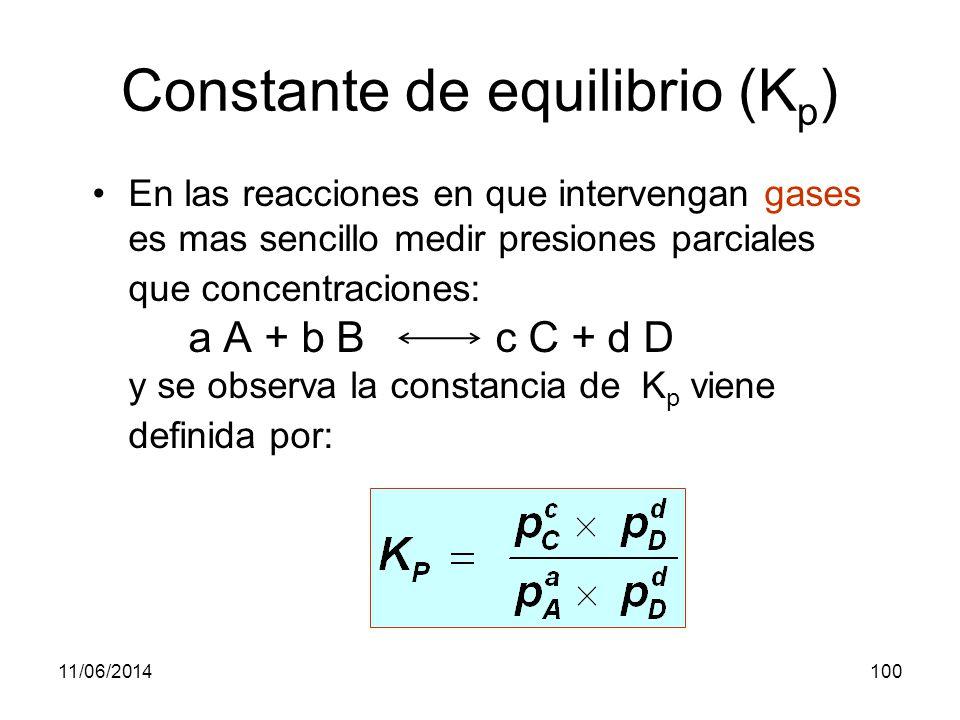 11/06/201499 Ejercicio B: En un recipiente de 250 ml se introducen 3 g de PCl 5, estableciéndose el equilibrio: PCl 5 (g) PCl 3 (g) + Cl 2 (g).