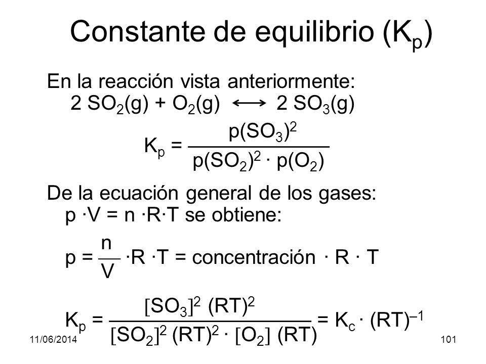 11/06/2014100 Constante de equilibrio (K p ) En las reacciones en que intervengan gases es mas sencillo medir presiones parciales que concentraciones: a A + b B c C + d D y se observa la constancia de K p viene definida por:
