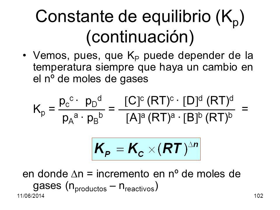 11/06/2014101 Constante de equilibrio (K p ) En la reacción vista anteriormente: 2 SO 2 (g) + O 2 (g) 2 SO 3 (g) p(SO 3 ) 2 K p = p(SO 2 ) 2 · p(O 2 ) De la ecuación general de los gases: p ·V = n ·R·T se obtiene: n p = ·R ·T = concentración · R · T V SO 3 2 (RT) 2 K p = = K c · (RT) –1 SO 2 2 (RT) 2 · O 2 (RT)