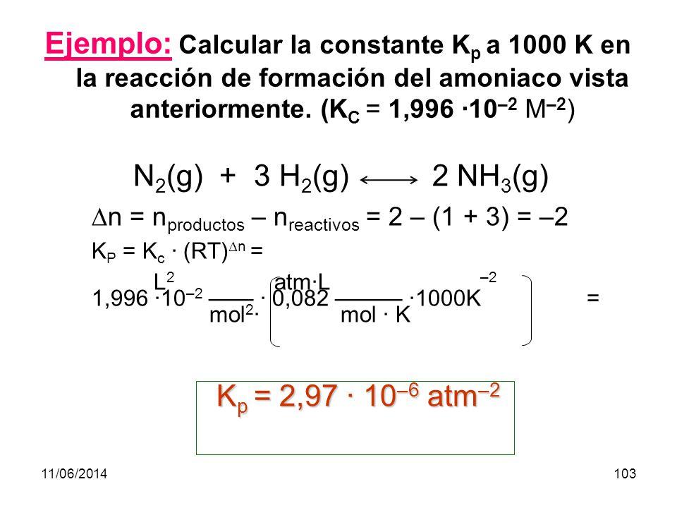 11/06/2014102 Constante de equilibrio (K p ) (continuación) Vemos, pues, que K P puede depender de la temperatura siempre que haya un cambio en el nº de moles de gases p c c · p D d C c (RT) c · D d (RT) d K p = = = p A a · p B b A a (RT) a · B b (RT) b en donde n = incremento en nº de moles de gases (n productos – n reactivos )