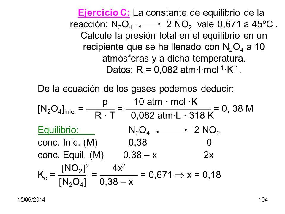 11/06/2014103 Ejemplo: Calcular la constante K p a 1000 K en la reacción de formación del amoniaco vista anteriormente.