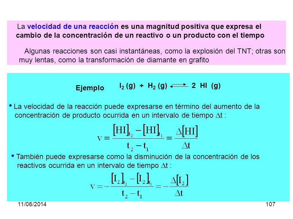 11/06/2014106 Cuando se produce una reacción química, las concentraciones de cada reactivo y producto va variando con el tiempo, hasta que se produce el equilibrio químico, en el cual las concentraciones de todas las sustancias permanecen constantes.