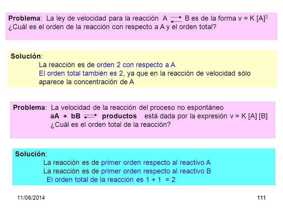 11/06/2014110 En la expresión: v = k · [A n · [B m Se denomina orden de reacción......al valor suma de los exponentes n + m.