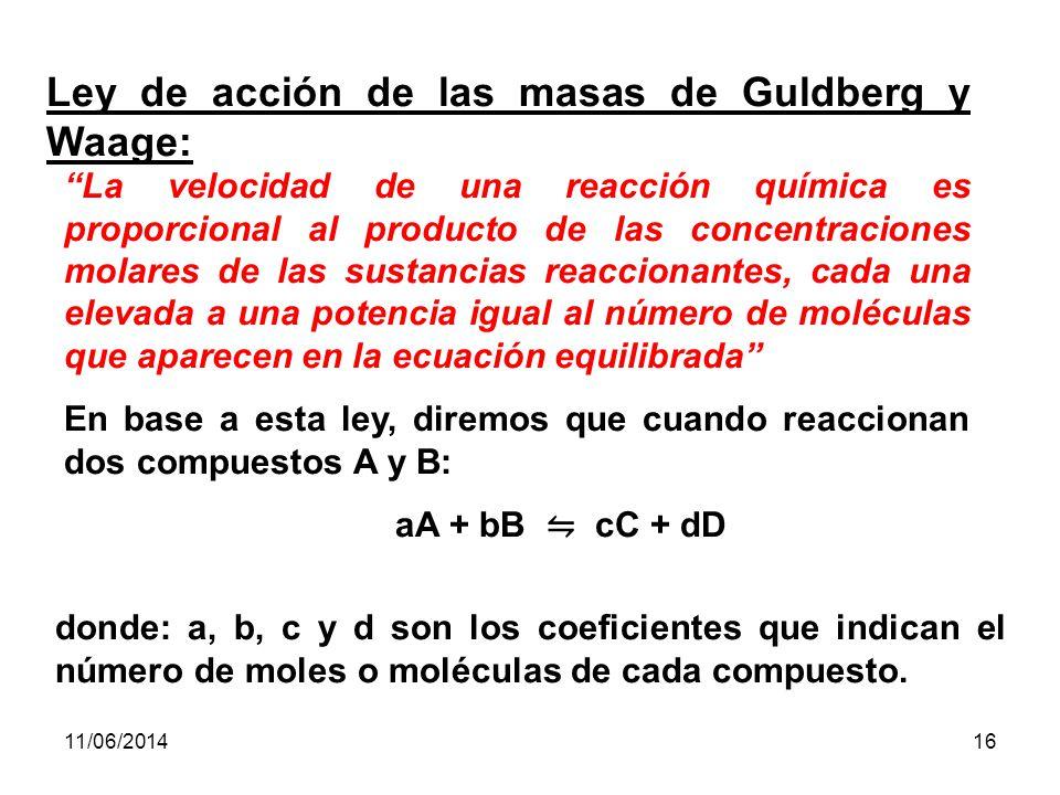 11/06/201415 LEY DE ACCION DE MASAS Es una relación que establece que los valores de la expresión de la K de equilibrio son constantes para una reacción en particular a una temperatura dada, siempre que se haya sustituido las concentraciones en equilibrio.