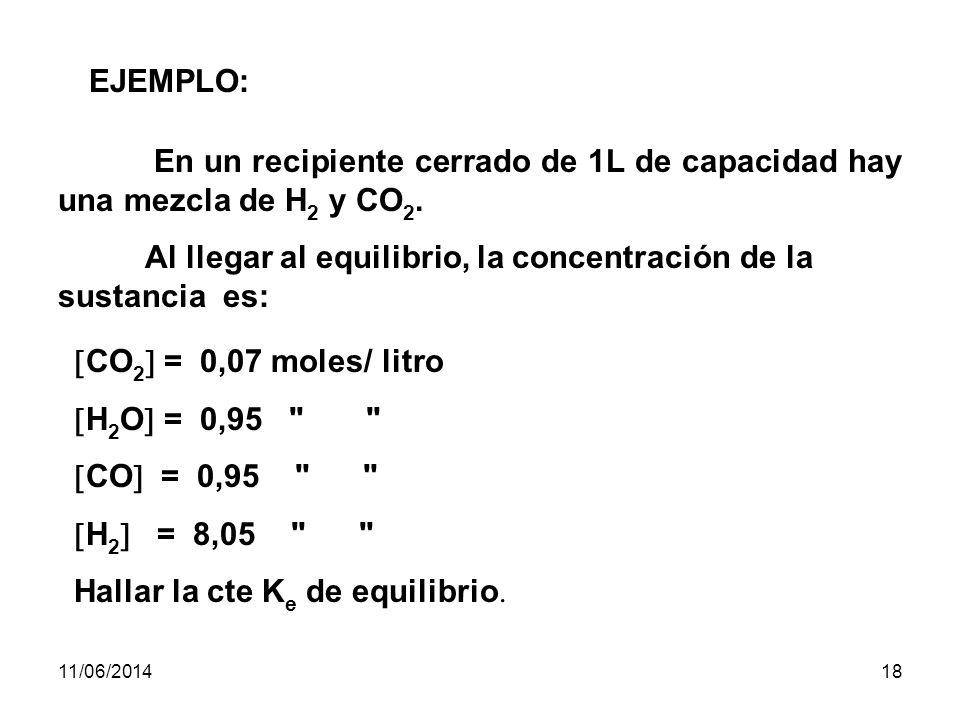 11/06/201417 La velocidad con la cual A y B reaccionan es proporcional a sus concentraciones o sea: v 1 = k1 k1 · A a · B b velocidad directa v 2 = k2 k2 · C c · D d velocidad indirecta k1 k1 y k 2 = constantes de velocidad de reacción directa e inversa respectivamente.
