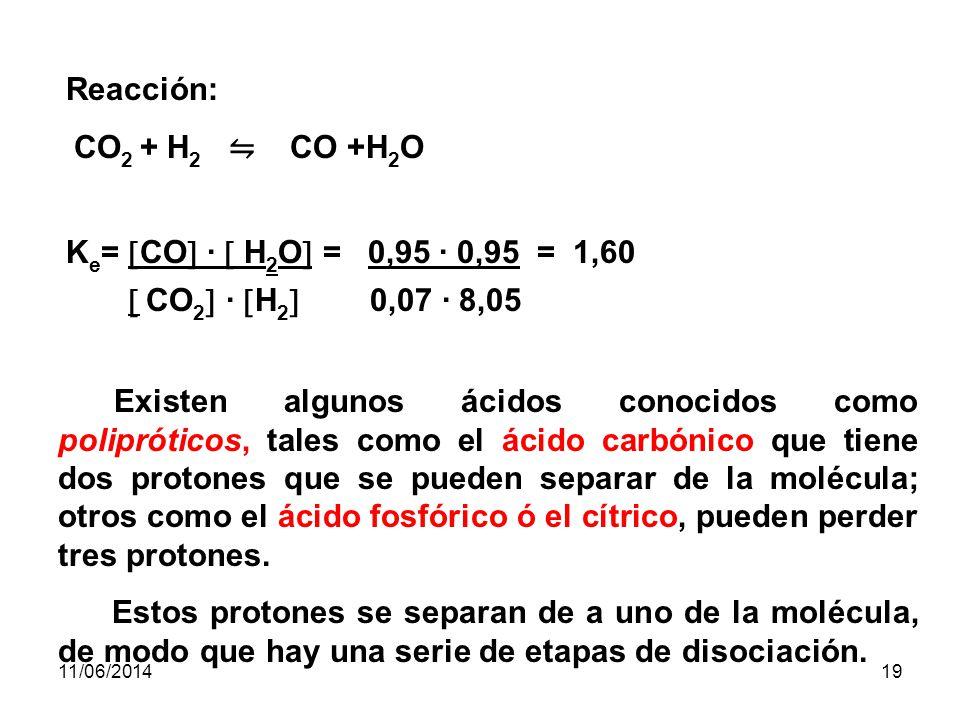 11/06/201418 EJEMPLO: En un recipiente cerrado de 1L de capacidad hay una mezcla de H 2 y CO 2.