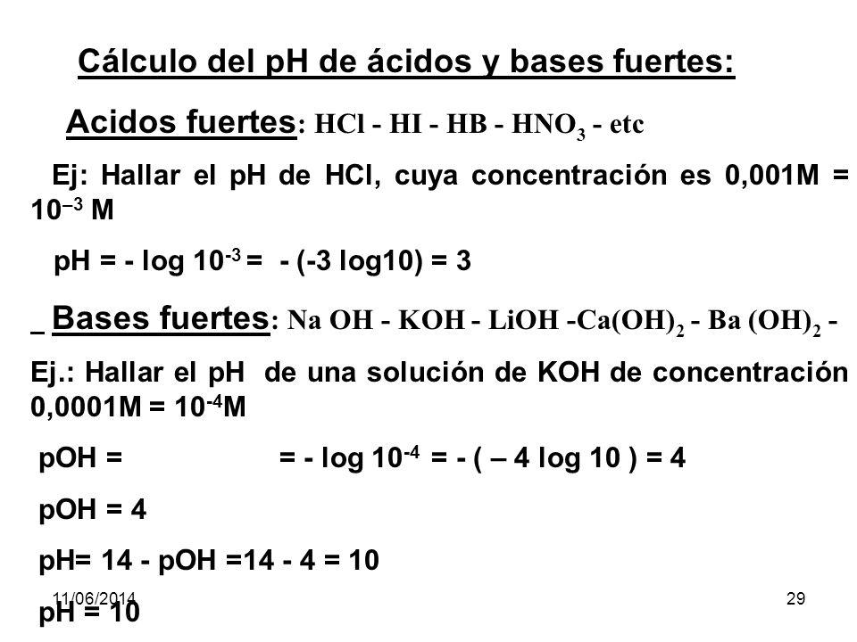 11/06/201428 Basándonos en esta relación, conociendo el pH, podremos calcular el pOH de una solución.