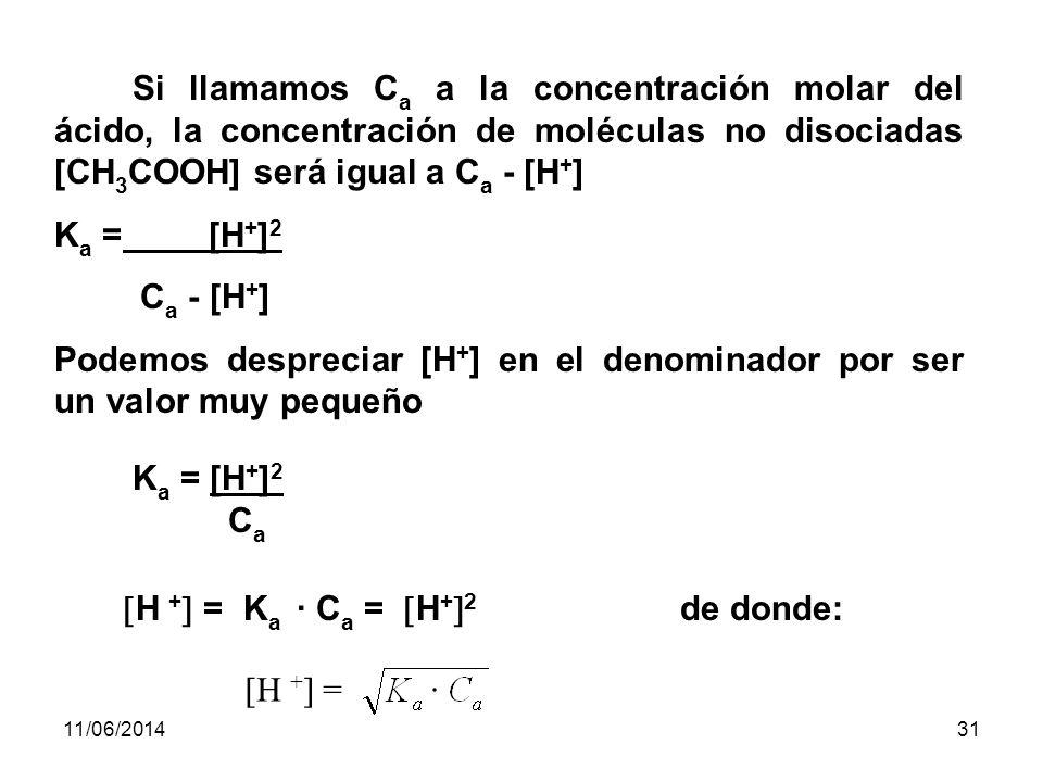 11/06/201430 Cálculo del pH de ácidos y bases débiles: Ácidos Débiles: Por ej: Hallar el pH de una solución de ácido acético, CH 3 COOH, 0,001M siendo Ka Ka = 1,8 · 10 -5 CH 3 COOH CH 3 COO - + H+H+ K a = [CH 3 COO - ] [H + ] [CH 3 COOH] Vemos que en la reacción, se forman tantos iones acetato (CH 3 COO - ) como iones Hidrógeno (H + ), sus concentraciones molares serán numéricamente iguales: [CH 3 COO - ]= [H + ] Ka Ka = [H + ] 2 [CH 3 COOH]