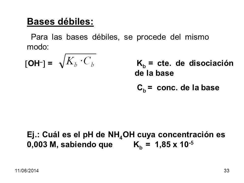 11/06/201432 Aplicando esta fórmula en el ejercicio enunciado, decimos que: H + = H + = 1,34 x 10 -4 M Teniendo la H +, podremos calcular el pH: pH = - (log 1,34 · 10 -4 ) = - (log 1,34 - 4) = - 0,127 + 4 = 3,873 Otra forma de obtener la H + para electrolitos débiles es: H + = α.