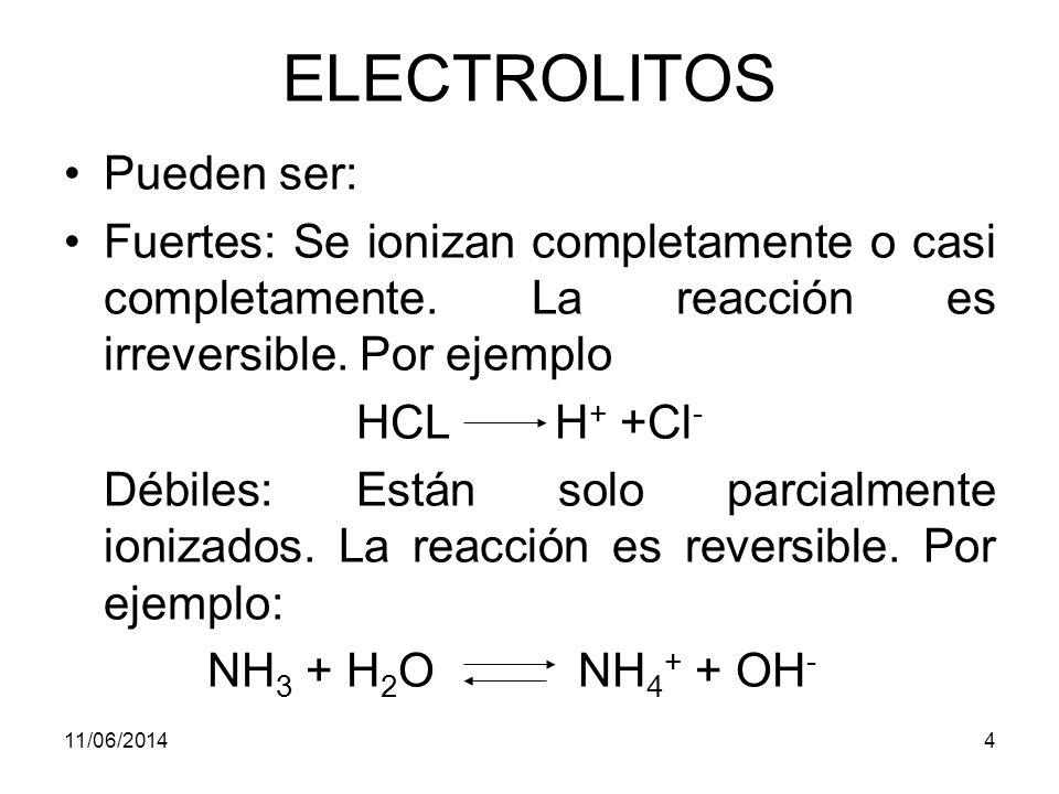 11/06/20144 ELECTROLITOS Pueden ser: Fuertes: Se ionizan completamente o casi completamente.