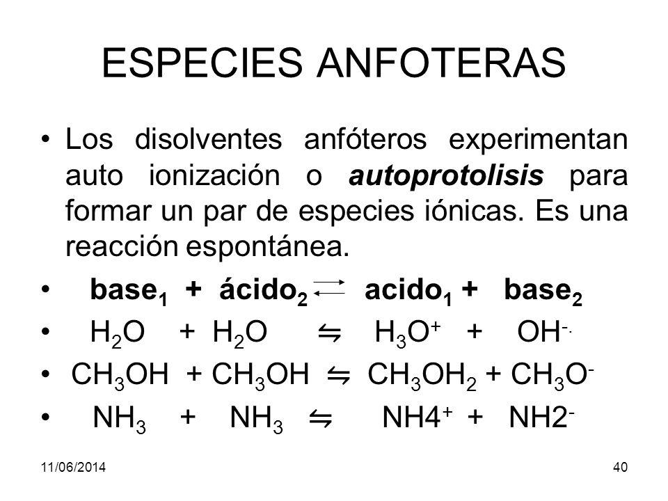 11/06/201439 ESPECIES ANFOTERAS Son también anfóteros por naturaleza los iones intermedios de los ácidos polipróticos.