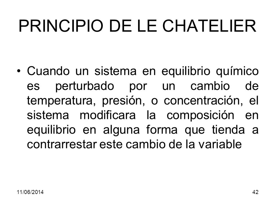 11/06/201441 EQUILIBRIO QUIMICO Las reacciones químicas nunca dan la conversión completa de reactivos a productos.