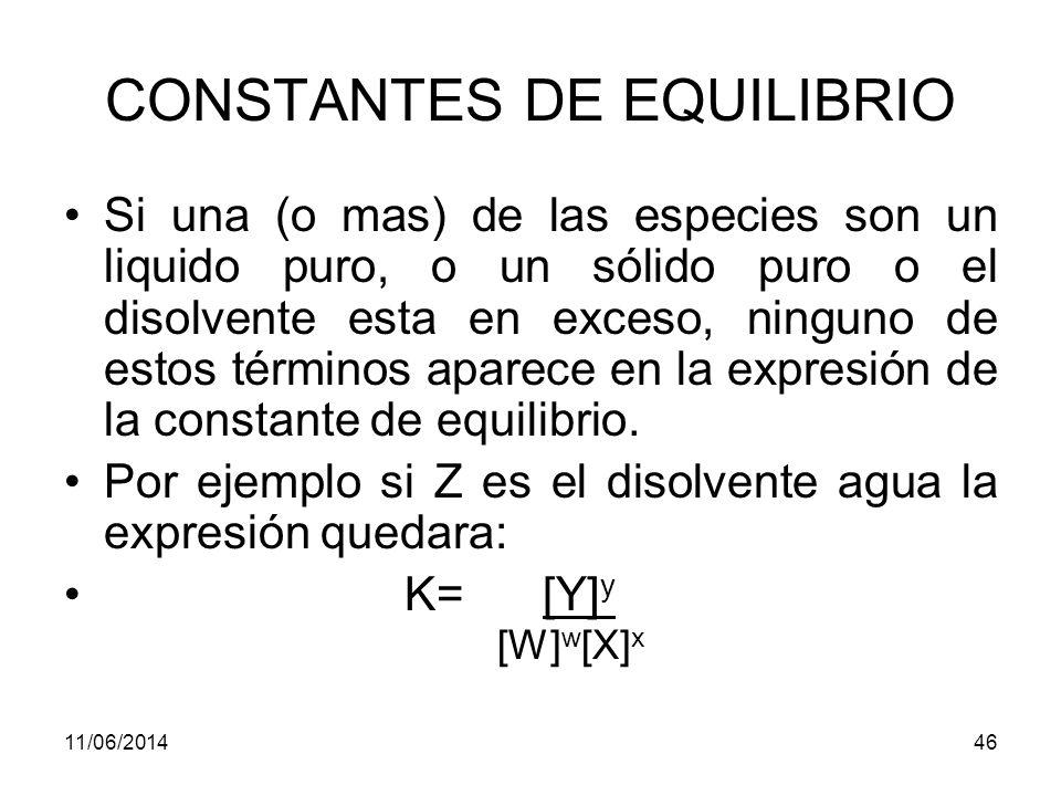 11/06/201445 CONSTANTES DE EQUILIBRIO K= [Y] y [Z] z [W] w [X] x Los términos entre corchetes es la concentración molar si la especie es un soluto disuelto La presión parcial en atmósferas si la especie es un gas