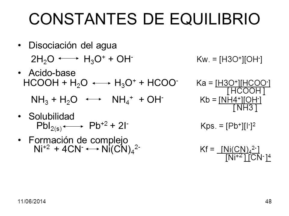 11/06/201447 CONSTANTES DE EQUILIBRIO Kw = Constante del producto iónico Kps = Producto de solubilidad Ka ò Kb Constante de disociación K redox = Equilibrio de oxidación reducción