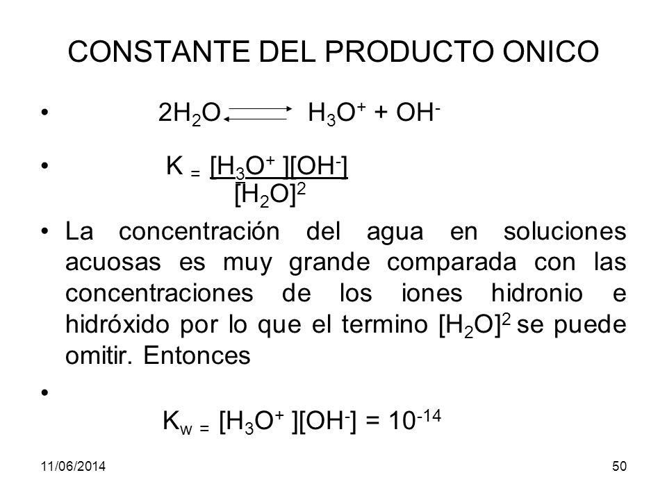 11/06/201449 CONSTANTES DE EQUILIBRIO Oxidación-reducción IO 3 - + 5I - + 6H + 3I 2 (ac)+3H 2 O K eq = [I 2 ] 3 [IO3-] [I - ] 5 [H+] 6 Equilibrio de distribución de un soluto en disolventes inmiscibles I 2 (ac) I 2 (org) Kd = [I 2 ]org [I 2 ]aq
