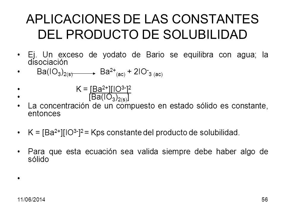 11/06/201455 APLICACIONES DE LAS CONSTANTES DEL PRODUCTO DE SOLUBILIDAD La mayoría de las sales poco solubles se disocian completamente en soluciones acuosas saturadas.