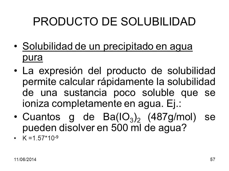 11/06/201456 APLICACIONES DE LAS CONSTANTES DEL PRODUCTO DE SOLUBILIDAD Ej.