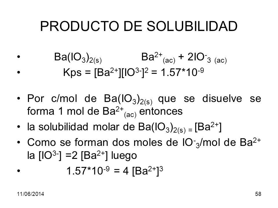11/06/201457 PRODUCTO DE SOLUBILIDAD Solubilidad de un precipitado en agua pura La expresión del producto de solubilidad permite calcular rápidamente la solubilidad de una sustancia poco soluble que se ioniza completamente en agua.