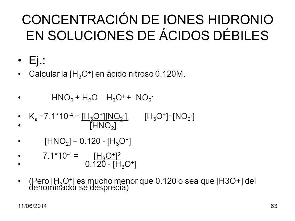 11/06/201462 CONCENTRACIÓN DE IONES HIDRONIO EN SOLUCIONES DE ÁCIDOS DÉBILES Cuando un ácido débil HA, se disuelve en agua hay dos equilibrios que producen iones hidronio el de la acidez y el del agua.