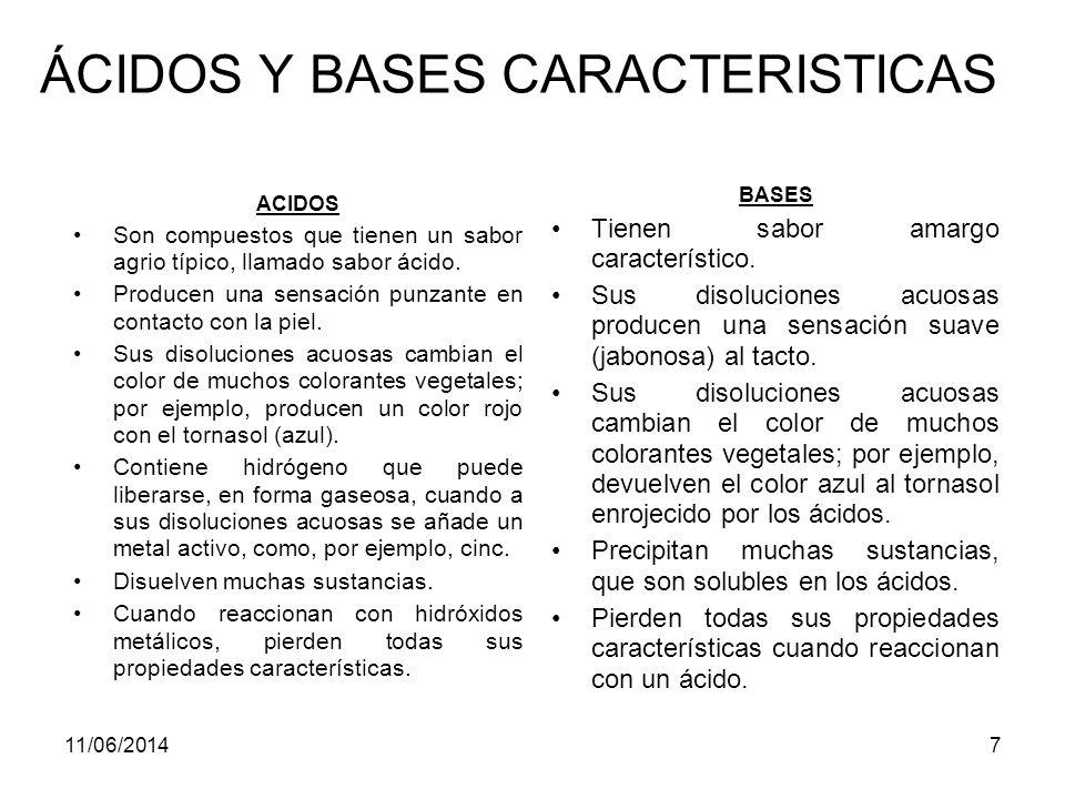 11/06/20147 ÁCIDOS Y BASES CARACTERISTICAS ACIDOS Son compuestos que tienen un sabor agrio típico, llamado sabor ácido.