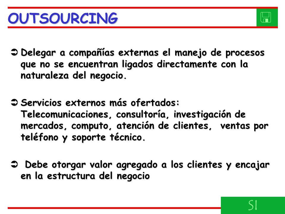 Delegar a compañías externas el manejo de procesos que no se encuentran ligados directamente con la naturaleza del negocio.