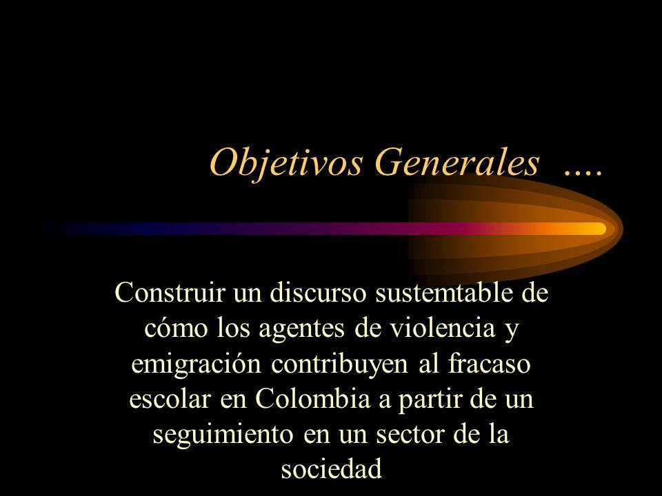 Objetivos Generales …. Construir un discurso sustemtable de cómo los agentes de violencia y emigración contribuyen al fracaso escolar en Colombia a pa