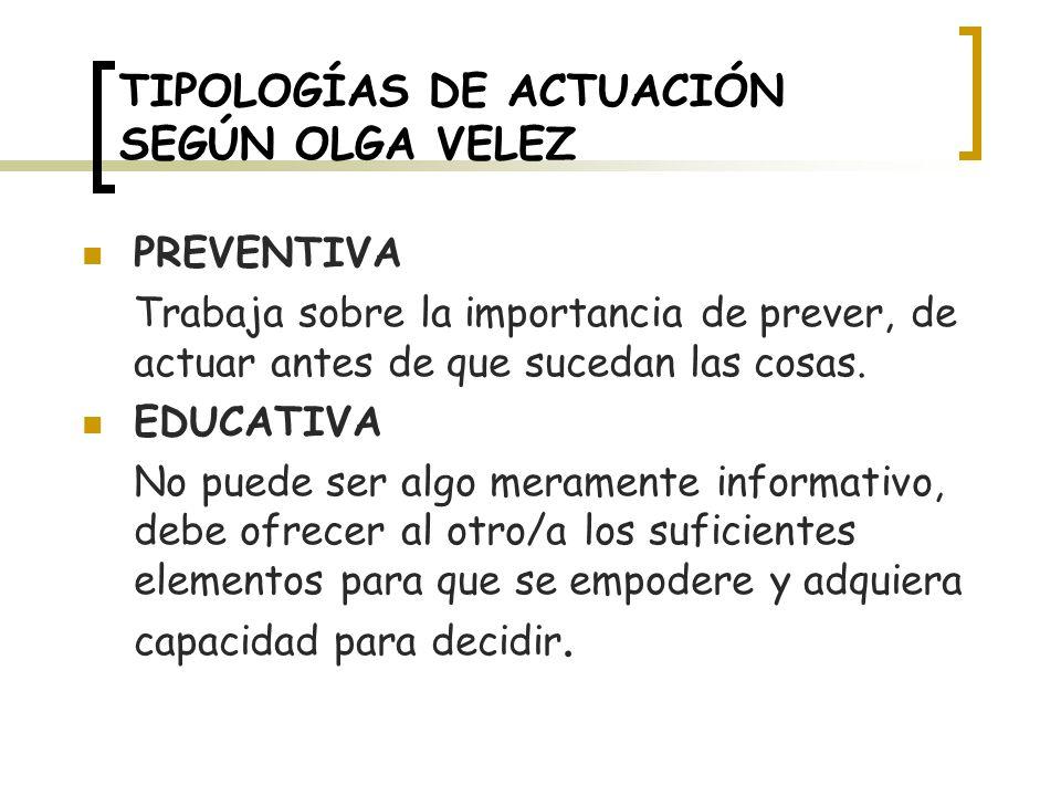 TIPOLOGÍAS DE ACTUACIÓN SEGÚN OLGA VELEZ PREVENTIVA Trabaja sobre la importancia de prever, de actuar antes de que sucedan las cosas.