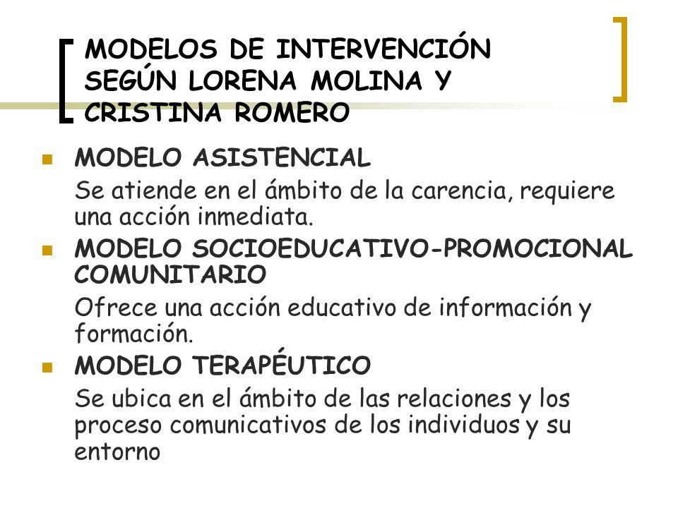 MODELOS DE INTERVENCIÓN SEGÚN LORENA MOLINA Y CRISTINA ROMERO MODELO ASISTENCIAL Se atiende en el ámbito de la carencia, requiere una acción inmediata.