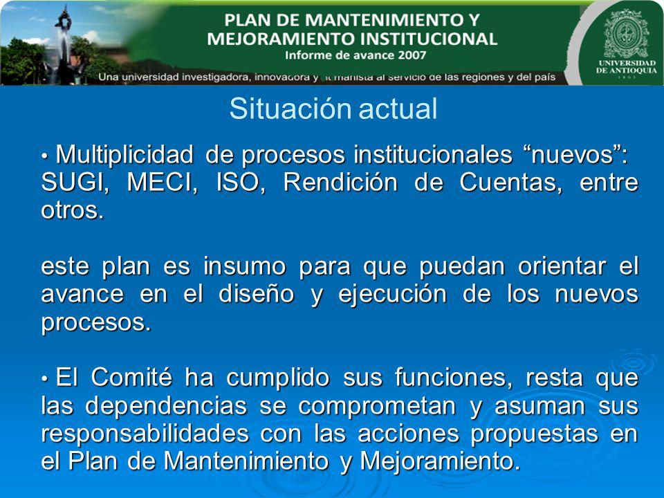 Multiplicidad de procesos institucionales nuevos: Multiplicidad de procesos institucionales nuevos: SUGI, MECI, ISO, Rendición de Cuentas, entre otros
