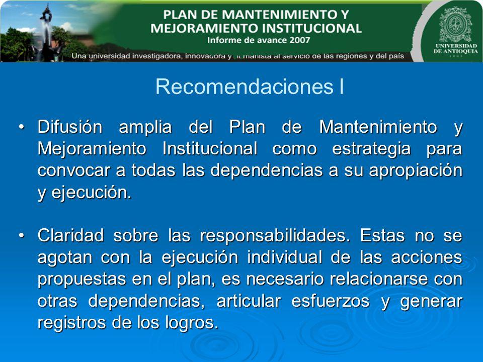 Recomendaciones I Difusión amplia del Plan de Mantenimiento y Mejoramiento Institucional como estrategia para convocar a todas las dependencias a su a