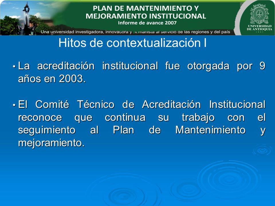 La acreditación institucional fue otorgada por 9 años en 2003. La acreditación institucional fue otorgada por 9 años en 2003. El Comité Técnico de Acr