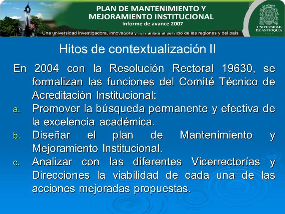 En 2004 con la Resolución Rectoral 19630, se formalizan las funciones del Comité Técnico de Acreditación Institucional: a. Promover la búsqueda perman