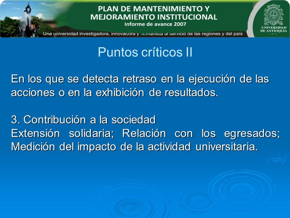En los que se detecta retraso en la ejecución de las acciones o en la exhibición de resultados. 3. Contribución a la sociedad Extensión solidaria; Rel