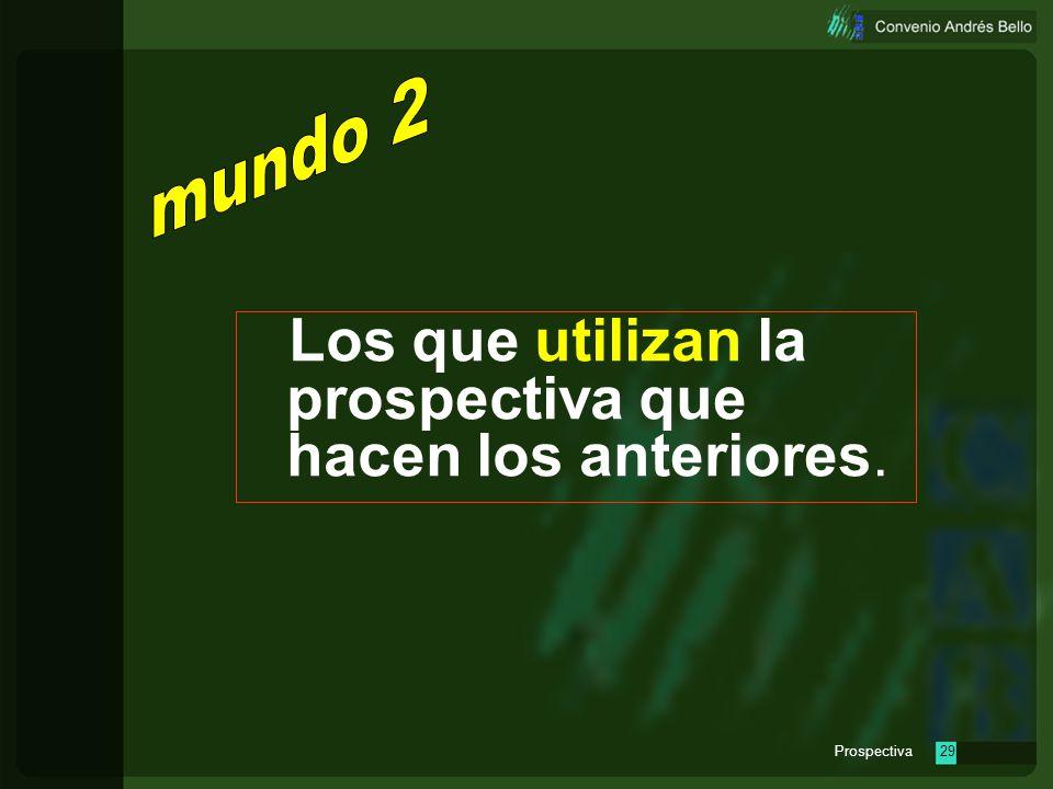 Prospectiva28 ONUDI MÉXICO ITESM ARGENTINA ONPE URUGUAY VENEZUELA Programa Nacional de Prospectiva COLOMBIA Programa Nacional de Prospectiva