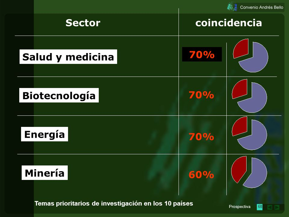 Prospectiva67 Sectorcoincidencia Medio Ambiente Informática Agrícola y pecuario Industria 90% 70% Temas prioritarios de investigación en los 10 países