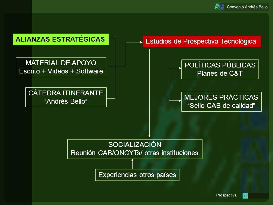 Prospectiva78 Estudios de Prospectiva Tecnológica MATERIAL DE APOYO Escrito + Videos + Software CÁTEDRA ITINERANTE Andrés Bello POLÍTICAS PÚBLICAS Pla
