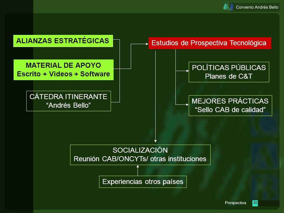 Prospectiva79 Estudios de Prospectiva Tecnológica MATERIAL DE APOYO Escrito + Videos + Software CÁTEDRA ITINERANTE Andrés Bello POLÍTICAS PÚBLICAS Pla