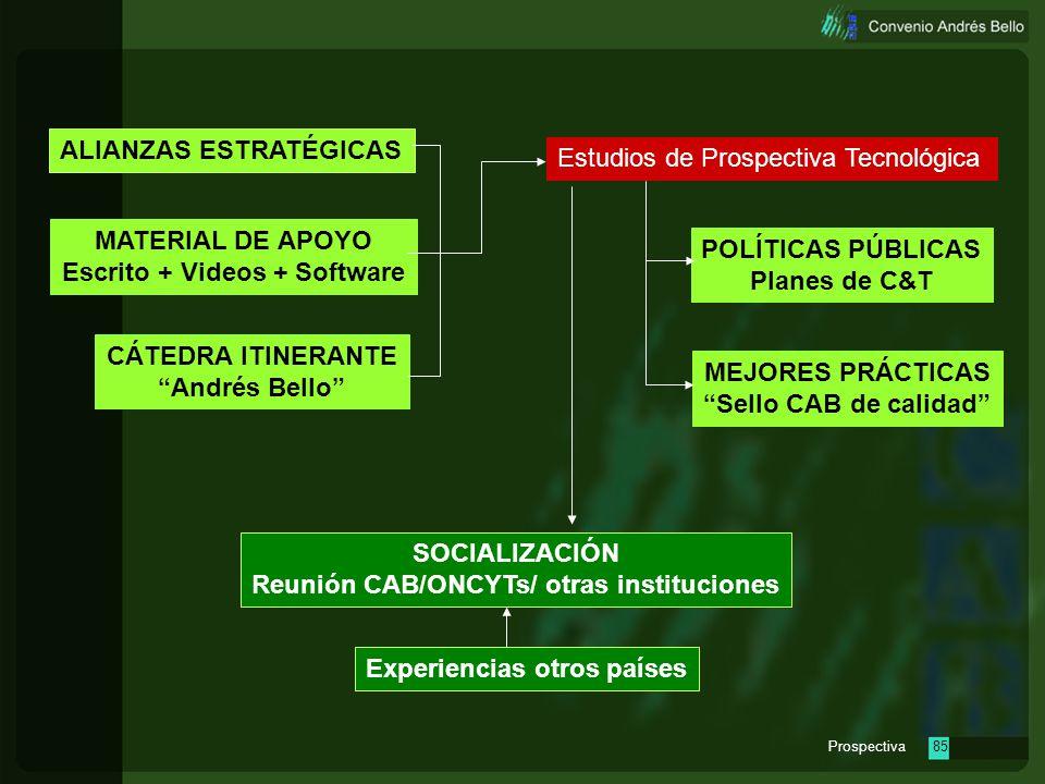 Prospectiva84 Estudios de Prospectiva Tecnológica MATERIAL DE APOYO Escrito + Videos + Software CÁTEDRA ITINERANTE Andrés Bello POLÍTICAS PÚBLICAS Pla