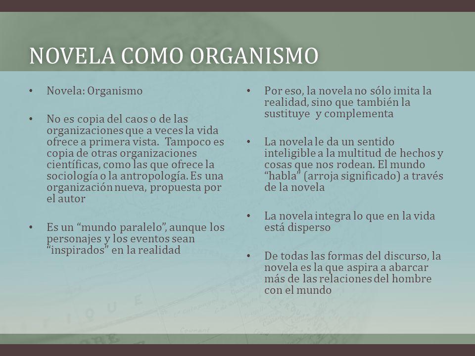 NOVELA COMO ORGANISMONOVELA COMO ORGANISMO Novela: Organismo No es copia del caos o de las organizaciones que a veces la vida ofrece a primera vista.