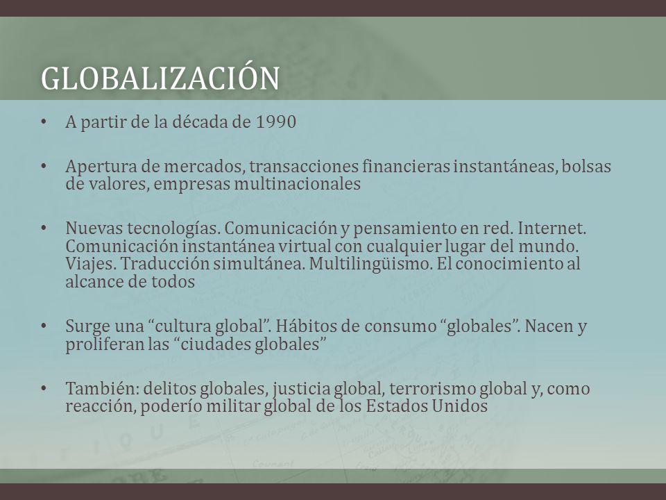 GLOBALIZACIÓN A partir de la década de 1990 Apertura de mercados, transacciones financieras instantáneas, bolsas de valores, empresas multinacionales