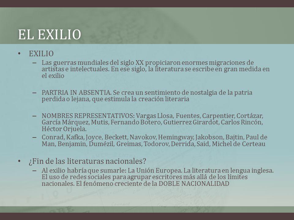 EL EXILIOEL EXILIO EXILIO – Las guerras mundiales del siglo XX propiciaron enormes migraciones de artistas e intelectuales. En ese siglo, la literatur