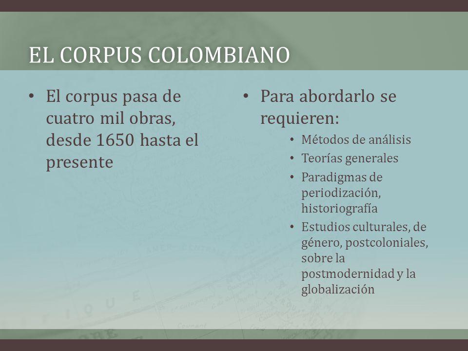 EL CORPUS COLOMBIANOEL CORPUS COLOMBIANO El corpus pasa de cuatro mil obras, desde 1650 hasta el presente Para abordarlo se requieren: Métodos de anál