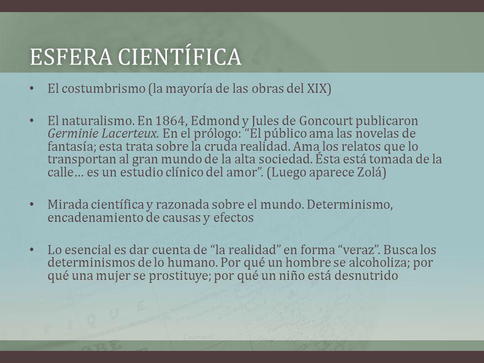 ESFERA CIENTÍFICAESFERA CIENTÍFICA El costumbrismo (la mayoría de las obras del XIX) El naturalismo. En 1864, Edmond y Jules de Goncourt publicaron Ge