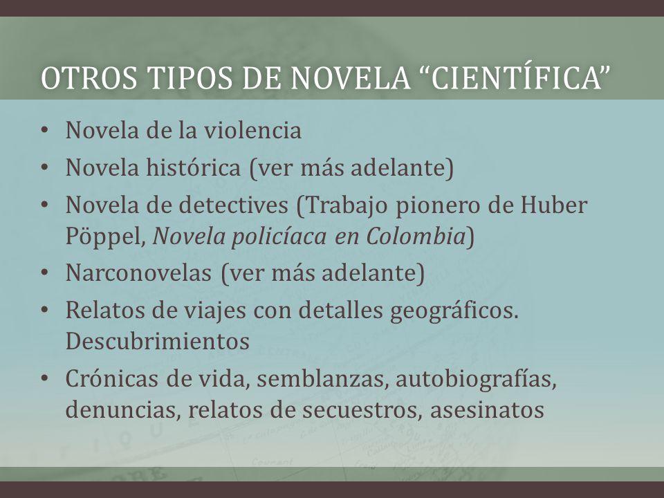 OTROS TIPOS DE NOVELA CIENTÍFICAOTROS TIPOS DE NOVELA CIENTÍFICA Novela de la violencia Novela histórica (ver más adelante) Novela de detectives (Trab