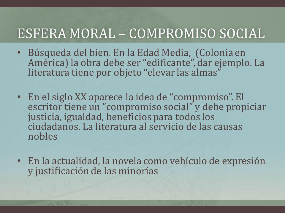 ESFERA MORAL – COMPROMISO SOCIALESFERA MORAL – COMPROMISO SOCIAL Búsqueda del bien. En la Edad Media, (Colonia en América) la obra debe ser edificante