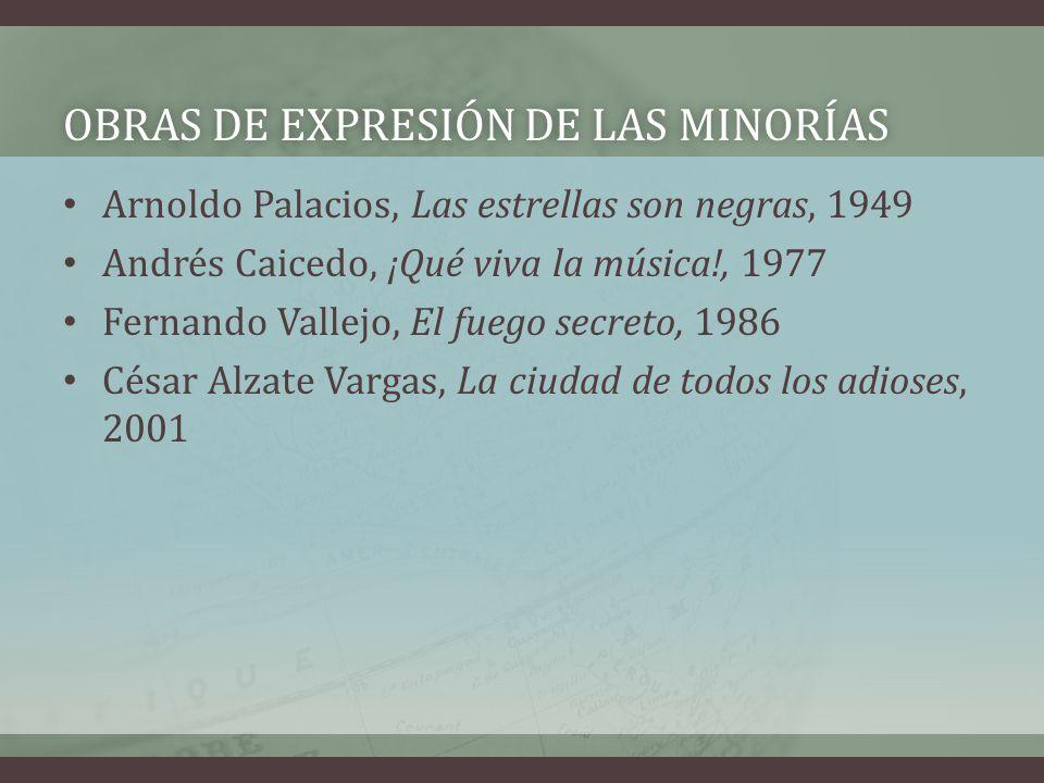 OBRAS DE EXPRESIÓN DE LAS MINORÍASOBRAS DE EXPRESIÓN DE LAS MINORÍAS Arnoldo Palacios, Las estrellas son negras, 1949 Andrés Caicedo, ¡Qué viva la mús