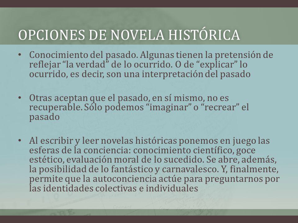 OPCIONES DE NOVELA HISTÓRICAOPCIONES DE NOVELA HISTÓRICA Conocimiento del pasado. Algunas tienen la pretensión de reflejar la verdad de lo ocurrido. O