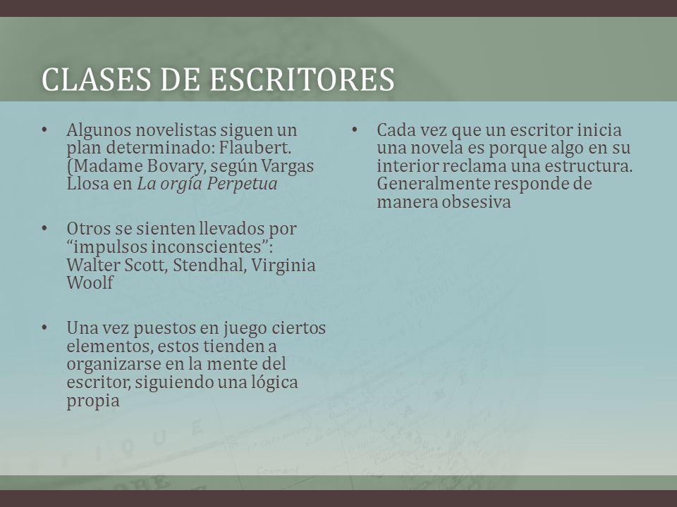 CLASES DE ESCRITORESCLASES DE ESCRITORES Algunos novelistas siguen un plan determinado: Flaubert. (Madame Bovary, según Vargas Llosa en La orgía Perpe