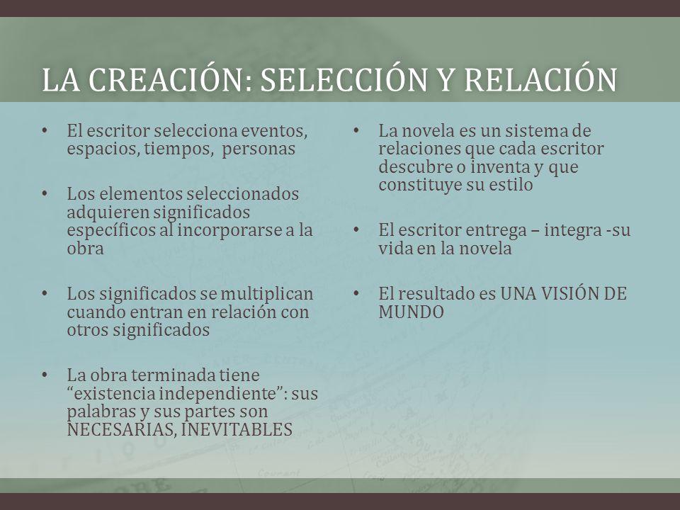 LA CREACIÓN: SELECCIÓN Y RELACIÓNLA CREACIÓN: SELECCIÓN Y RELACIÓN El escritor selecciona eventos, espacios, tiempos, personas Los elementos seleccion